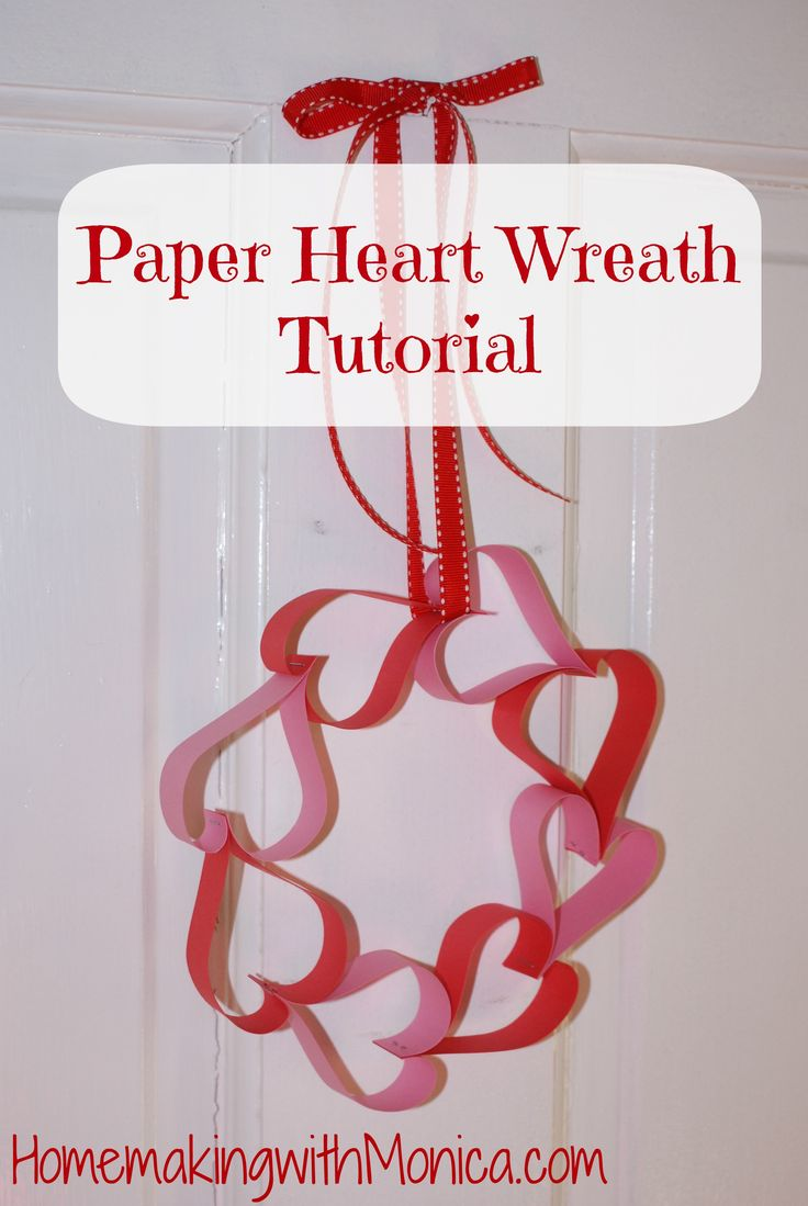 Your little one can decorate their bedroom door with this homemade paper heart wreath