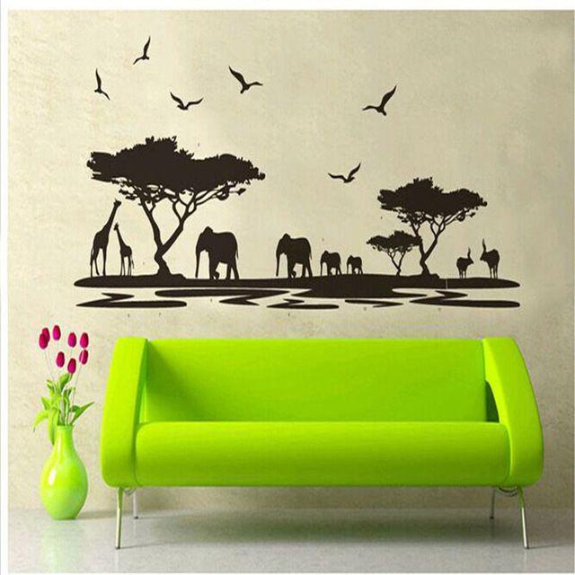 Oujing Persoonlijkheid Ontwerp Zwart Fashion Afrika Dieren Muursticker achtergrond mode Bar Glas zitkamer Home Decor