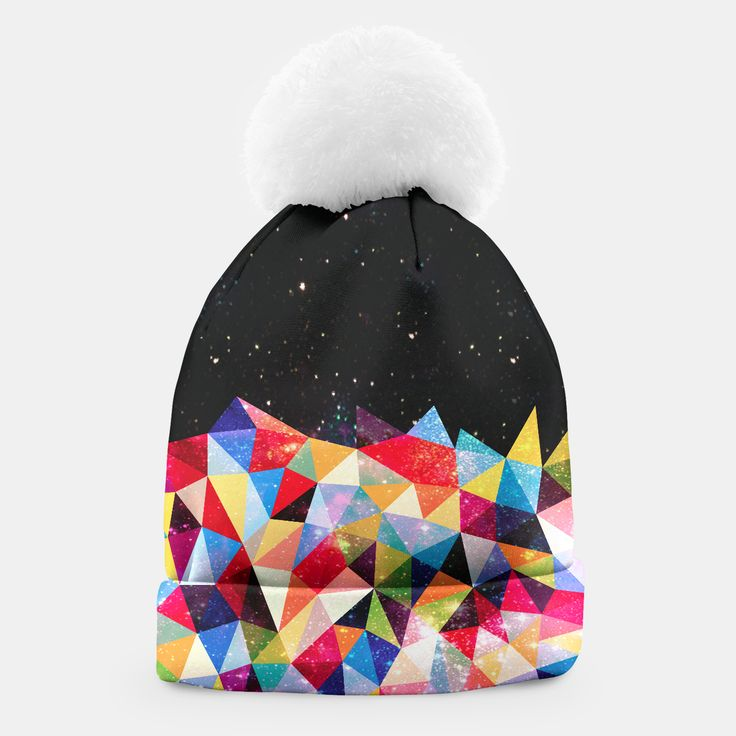 Space Shapes hat by Fimbis    _____    ___________________________________   #headwear #wrapup #winter #xmas #vibrant #pattern #winteriscoming ___________________________________ A simple yet stylish beanie with a white pompon designed by you and for you. This winter you are going to look exceptional!Manufactured manually in Europe with best materials available, and printed with unique image of your choice! Live Heroes guarantees the highest quality of all products purchased.