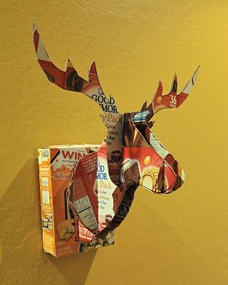 Cardboard Deer Head Mount from ice cream box - links to blog with link to tutorial