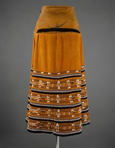 Africa | Textile skirt, also known as an isikhakha or imibhaco, from the Xhosa people of South Africa | 20th century | Cotton, glass beads, buttons, ocher.