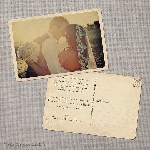 Vintage Wedding Thank You Postcards - the Narissa via Etsy