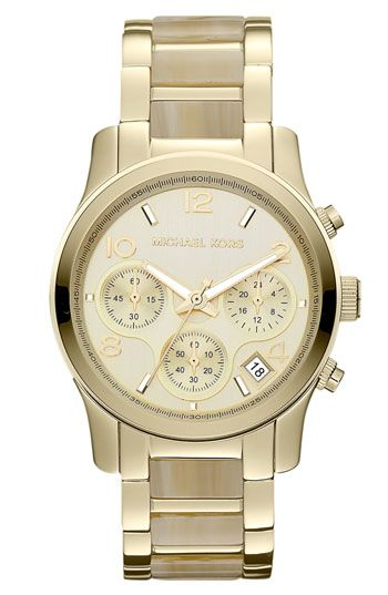 Michael Kors 'runway' Chronograph Bracelet Watch Gold/ Horn One Size - Buy it here: https://www.lookmazing.com/products/show/2028349?lid=4715=images