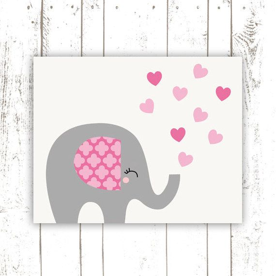 Elephant Nursery Art Print in Pink and Grey - Modern Jungle Nursery Baby Elephant Print with Hearts