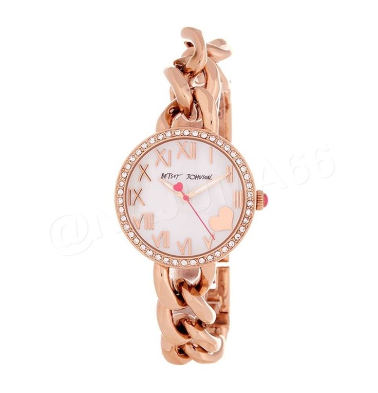 Betsey Johnson Chain Link Bracelet Watch w/ Box - Rose Gold Mother of Pearl NWT #BetseyJohnson