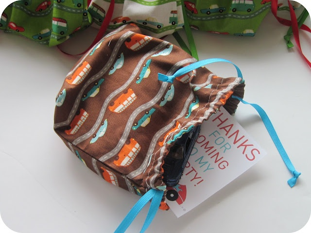 homemade by jill: car party favor bags