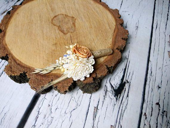 Ivory orange lavender rustic autumn fall harvest wedding  #rusticboutonniere, #weddingbputonniere,