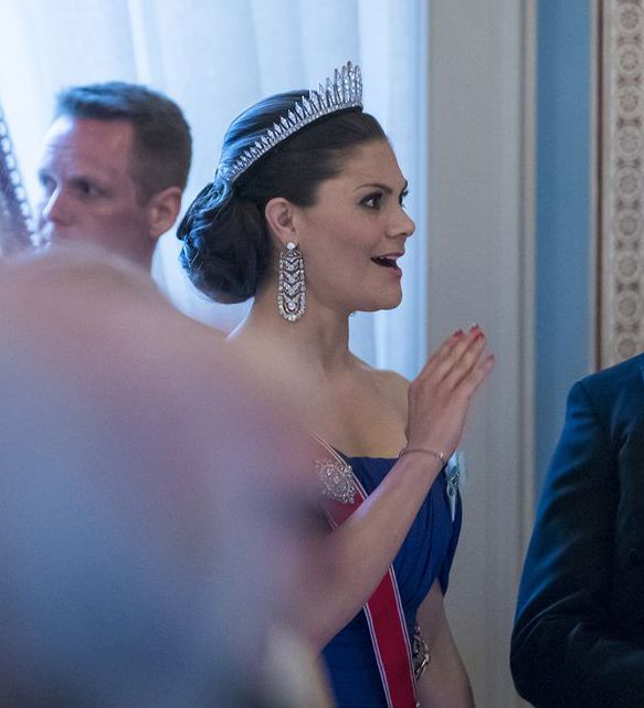 "tiaramania: "" TIARA ALERT: Crown Princess Victoria of Sweden wore the Baden Fringe Tiara to the 80th birthday celebrations of King Harald and Queen Sonja of Norway at the Royal Palace in Oslo on 9 May 2017. Photo: Heiko Junge """