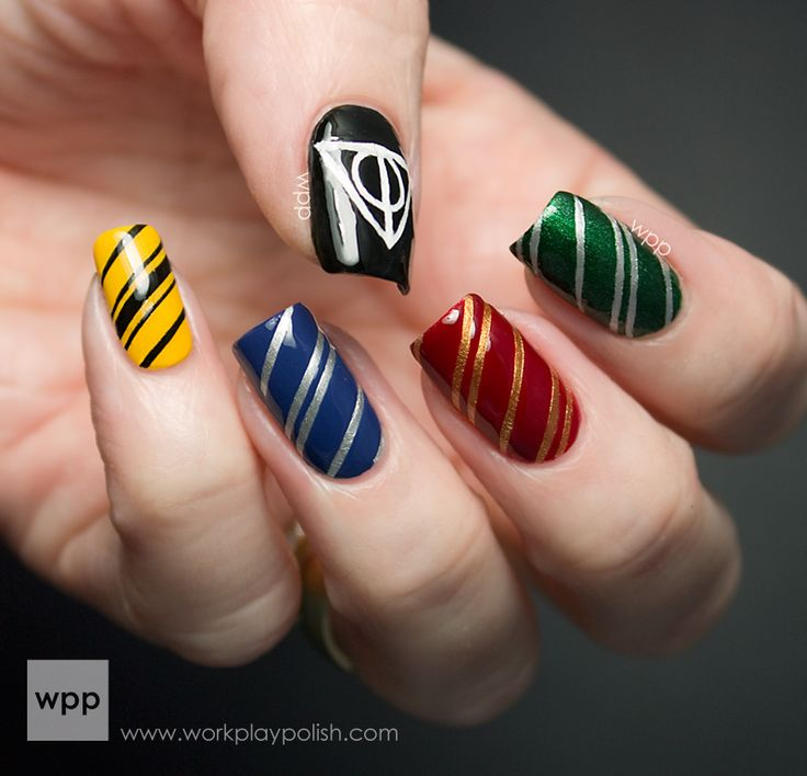 Harry Potter house color nails