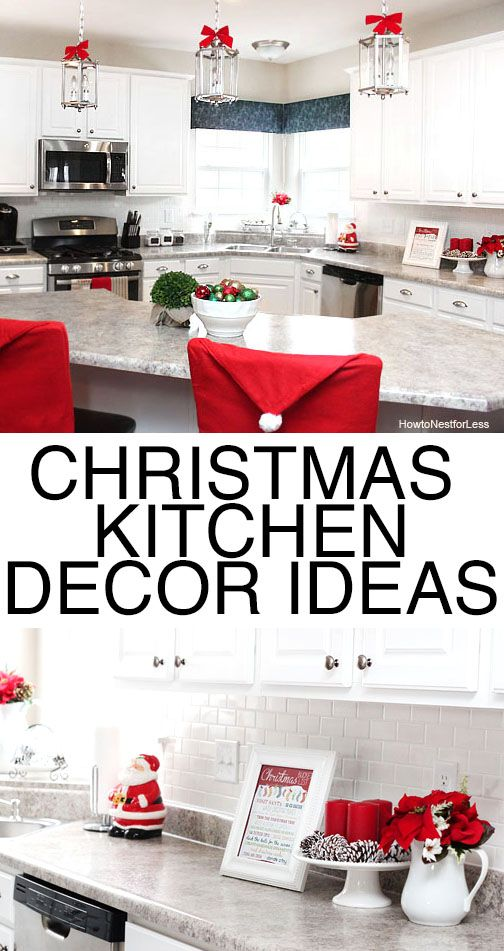 Christmas kitchen decor ideas. LOVE the Santa hat chair covers and the printables. TOO CUTE!