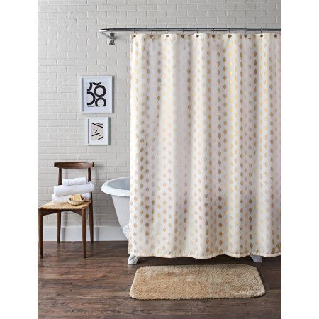 Better Homes And Gardens Metallic Ikat Dou Fabric Shower Curtain   Walmart .com