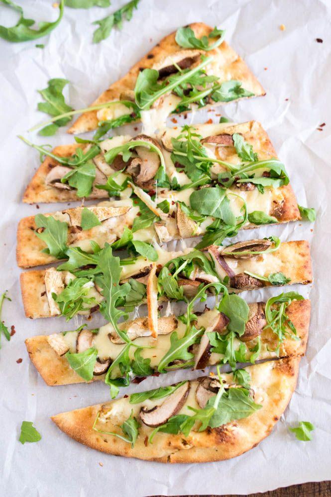Mushroom Arugula Flat bread Pizza