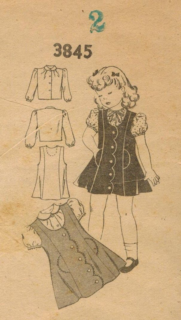 1940s Mail Order 3845 Vintage Sewing Pattern Toddler's Jumper and Blouse Size 2 di midvalecottage su Etsy https://www.etsy.com/it/listing/192859482/1940s-mail-order-3845-vintage-sewing