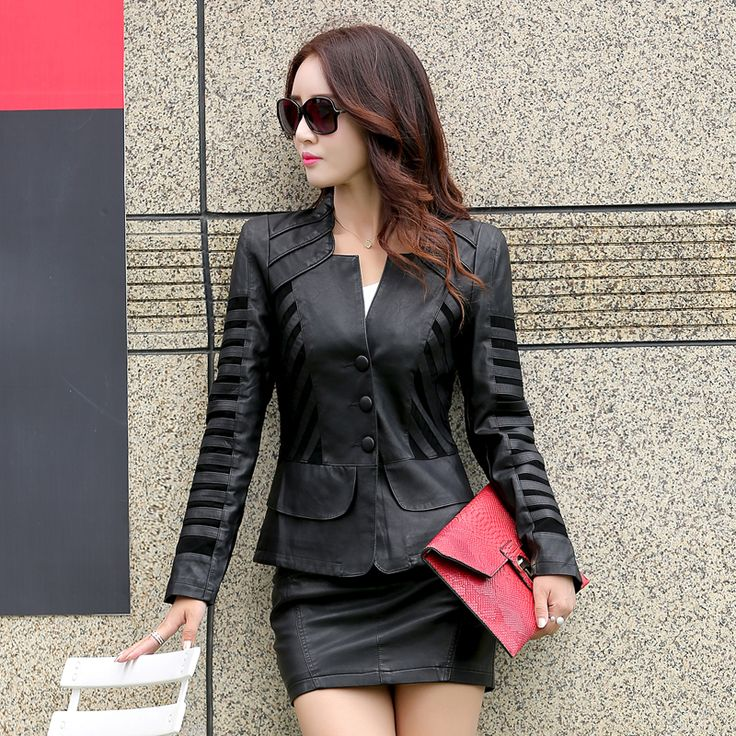 leather jacket women spring and autumn  Slim V-neck stitching leather coat  ladies black and  red parka plus size l-5xl 922