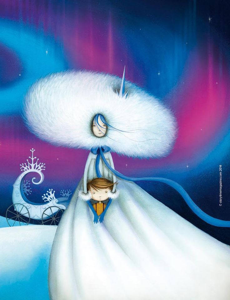 The Snow Queen - a beautiful baddie, but a baddie nonetheless. Illustration by Valeria DoCampo (valeriadocampo.com) in Storytime Issue 4. ~ STORYTIMEMAGAZINE.COM