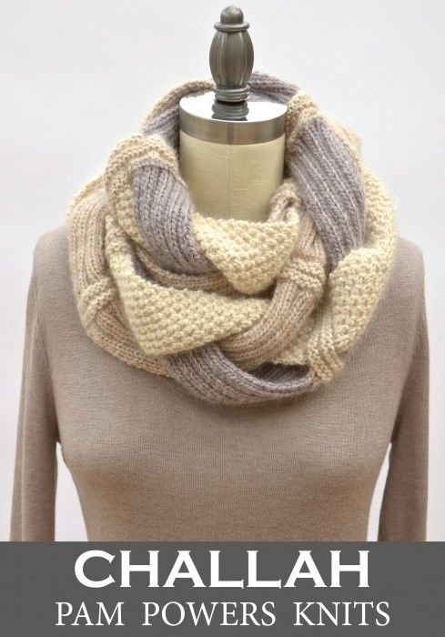 I just updated the Challah Infinity Scarf pattern to include a three-color version. The instructions are the same, but the strands are each done in a different shade and the mid-section join is str...