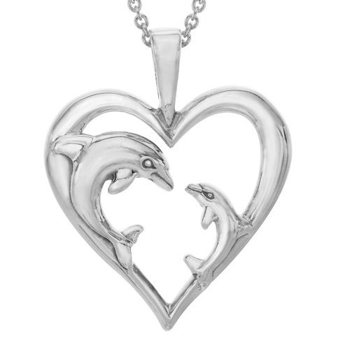 This heartwarming Sterling Silver Dolphin Mother and Baby Heart Pendant from Kabana Jewelry makes an elegant and touching statement about the transcendent power of love.