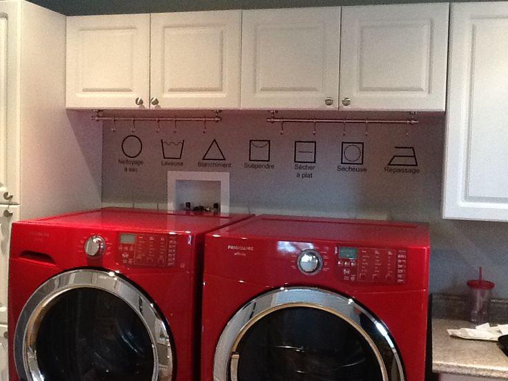 Salle de lavage avec symboles de lavage
