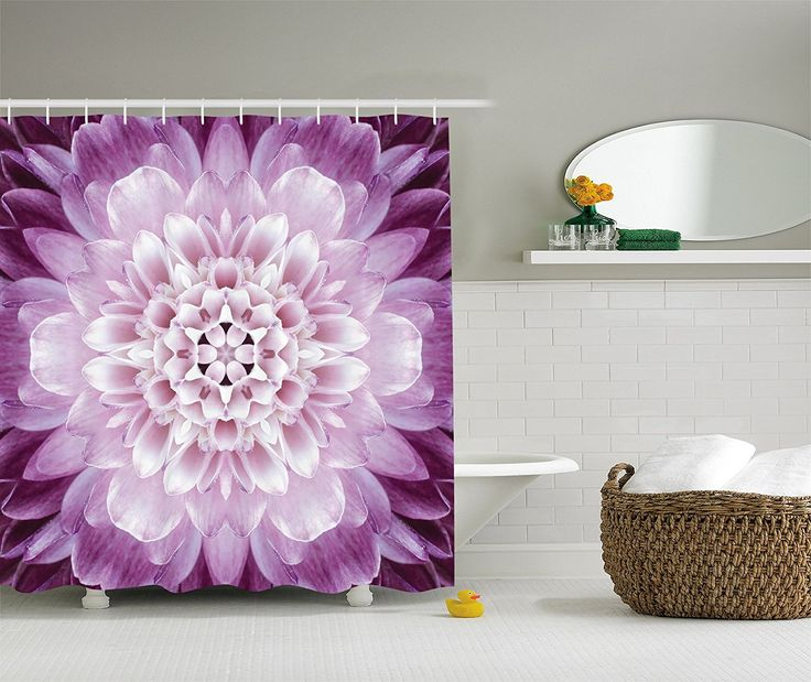 Bathroom shower curtains - Floral design shower curtains, purple flower design. Visit us for more information and where to buy.
