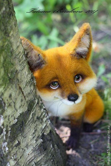 "Wool Needle-felted Fox::Войлочная игрушка ""Пухтя""."