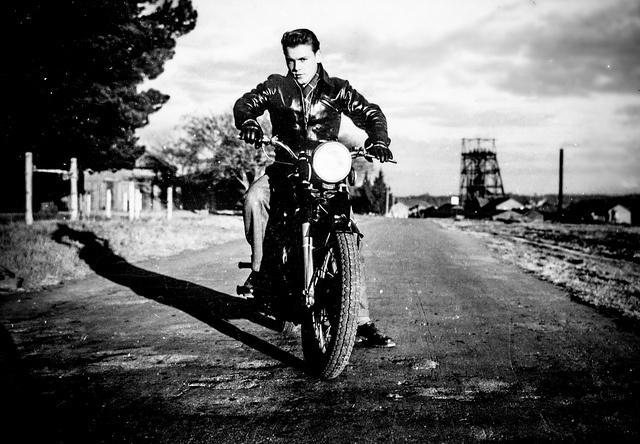 Biker dad. South Africa. Undated. Probably 1954 by Axel Bührmann, via Flickr