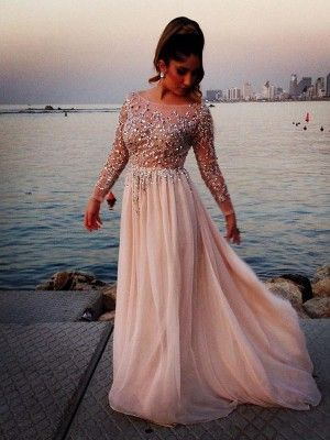 Long Sleeves A-line/Princess Bateau Beading Floor-length Chiffon Dress - Prom Dresses 2016 - Prom Dresses