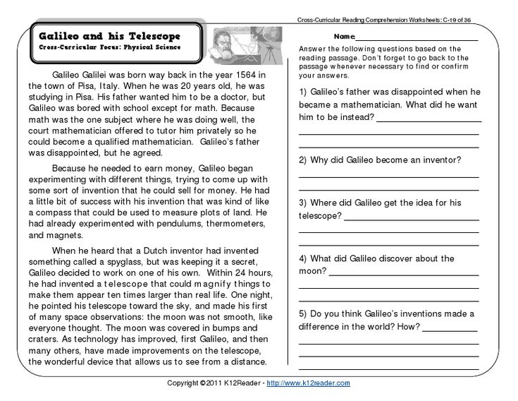 Printables 4th Grade Reading Comprehension Worksheet 1000 images about comprehension on pinterest 3rd grade reading worksheets third galileo