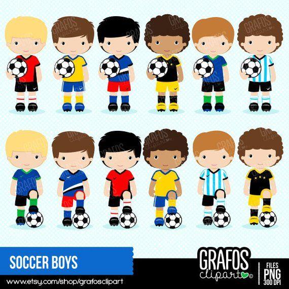 Soccer Boys Digital Clipart Set Soccer Clipart Play