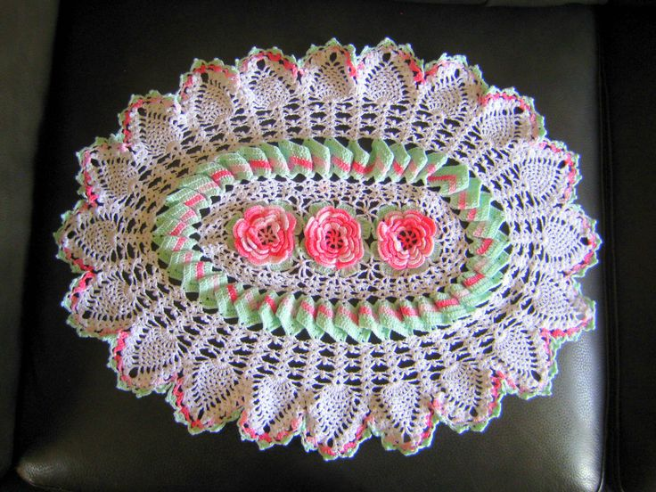 Cotton crochet doily,Vintage doily,detailed doily,vintage decor,cottage decor,white/mint/pink doily at Designs by Willowcreek on Etsy by DesignsByWillowcreek on Etsy