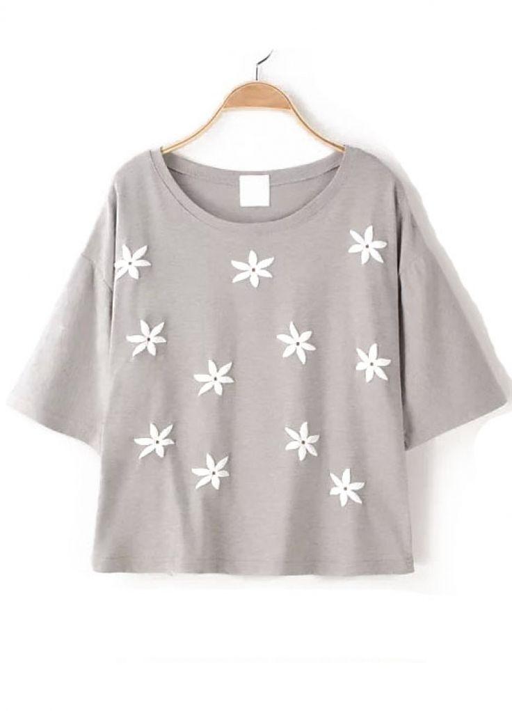 Flower Applique Grey T-shirt
