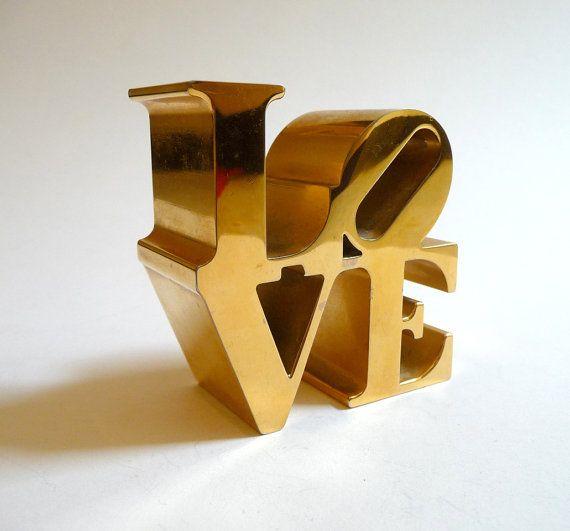Robert Indiana Sculpture   Vintage Gold Robert Indiana Love Sculpture by mascarajones on Etsy