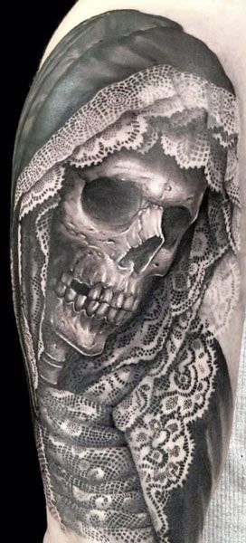 Tattoo Artist - Matteo Pasqualin - skull tattoo, and the detail on this piece is incredible. The artist shows extreme control over their machine!