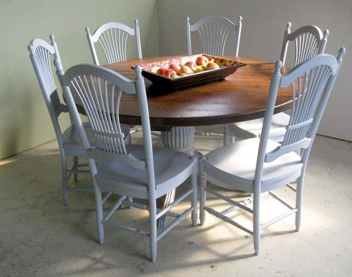 Beautiful 60 round farm table i love this color for Beautiful round dining tables