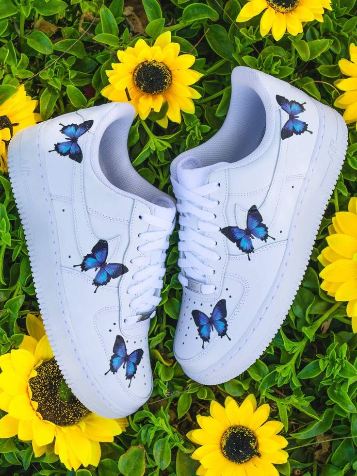 Blue Drip Butterfly AF1 in 2020 White nike shoes