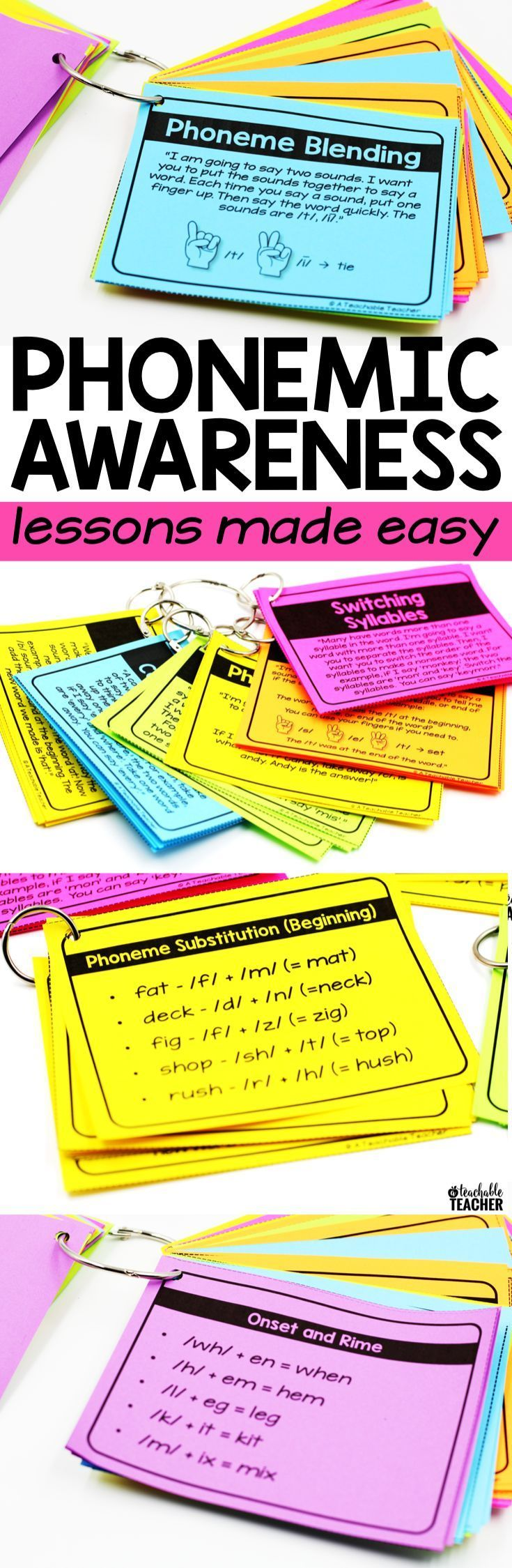 Phonemic awareness is so important in learning to read. Target every phonemic awareness skill in preschool, phonemic awareness kindergarten, and first grade reading with these phonemic awareness teacher task cards. The easiest, most effective way I've tau