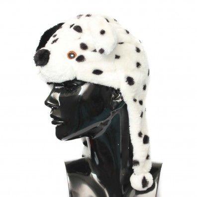 Cappello diam. 54 mm  peluches dalmata di color bianco nero
