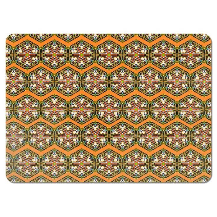 Uneekee Kaleidoscope Zig Zag Brown Placemats (Set of 4) (Kaleidoscope Zig Zag Brown Placemat) (Polyester)