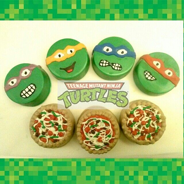 Teenage Mutant Ninja Turtles chocolate covered oreos with their favorite pizza oreos! By A Taste To Remember. Now available in our Etsy shop!