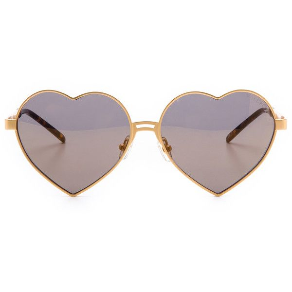 Wildfox Lolita Deluxe Sunglasses (1.265 VEF) ❤ liked on Polyvore featuring accessories, eyewear, sunglasses, glasses, jewelry, polarized lens sunglasses, polarized mirror sunglasses, mirrored sunglasses, heart shaped sunglasses and wire sunglasses