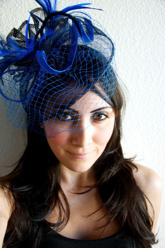 Royal Blue Fascinator - Royal Blue & Navy Fascinator Hat Headband w/Ribbon waves a blue birdcage veil