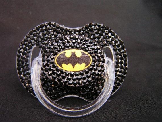 Rhinestoned Pacifier Superhero Blinky by BorntoBlingBoutique, $35.00.. omfg im getting this for my unborn nephew declan !!! My lil bat baby ♥♥