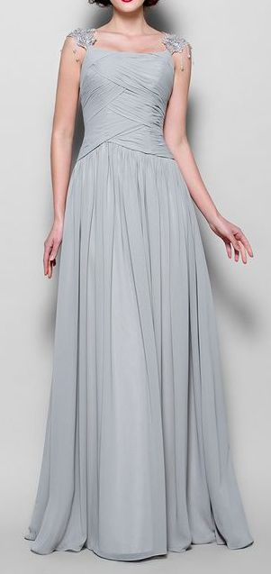 A-line Straps Floor-length Chiffon Mother of the Bride Dress