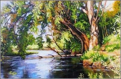 """""""Willows Shore"""" oil on canvas painting by Constantin Paunescu"""
