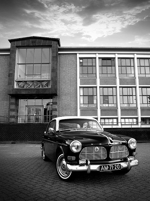 """My '66 twotone Volvo Amazon 121 in front of the old """"De Gruyter"""" factory."""