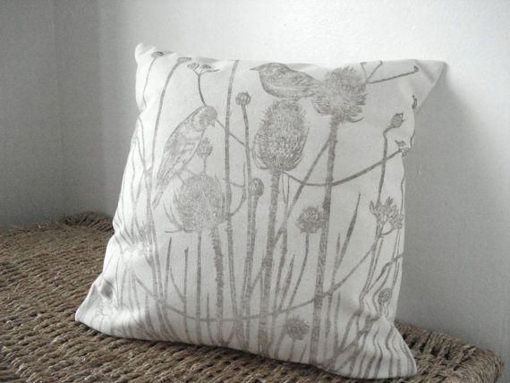 Hand block printed fabric Teasels nature print by HelenDarlington