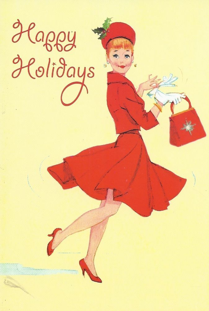 Vintage Greeting Card Lady in Red Suit Hat Purse Shoes 60\'s white ...
