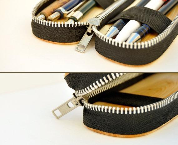 Juinper wood pencil box with black and metal zipper by Morgod, $25.00