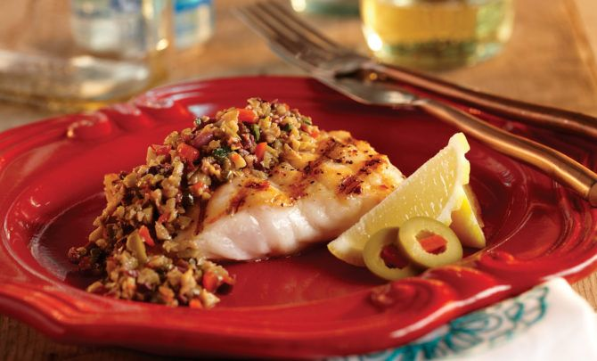 Grilled Red Snapper with Mixed Olive Tapenade