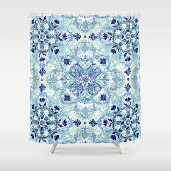 Navy Blue, Green U0026 Cream Detailed Lace Doodle Pattern Shower Curtain