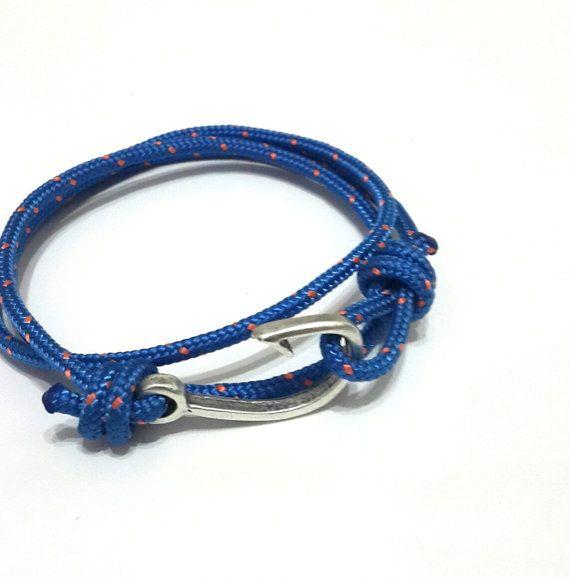Nautische Armband Fisch Haken Seil Armband von braceletmixx